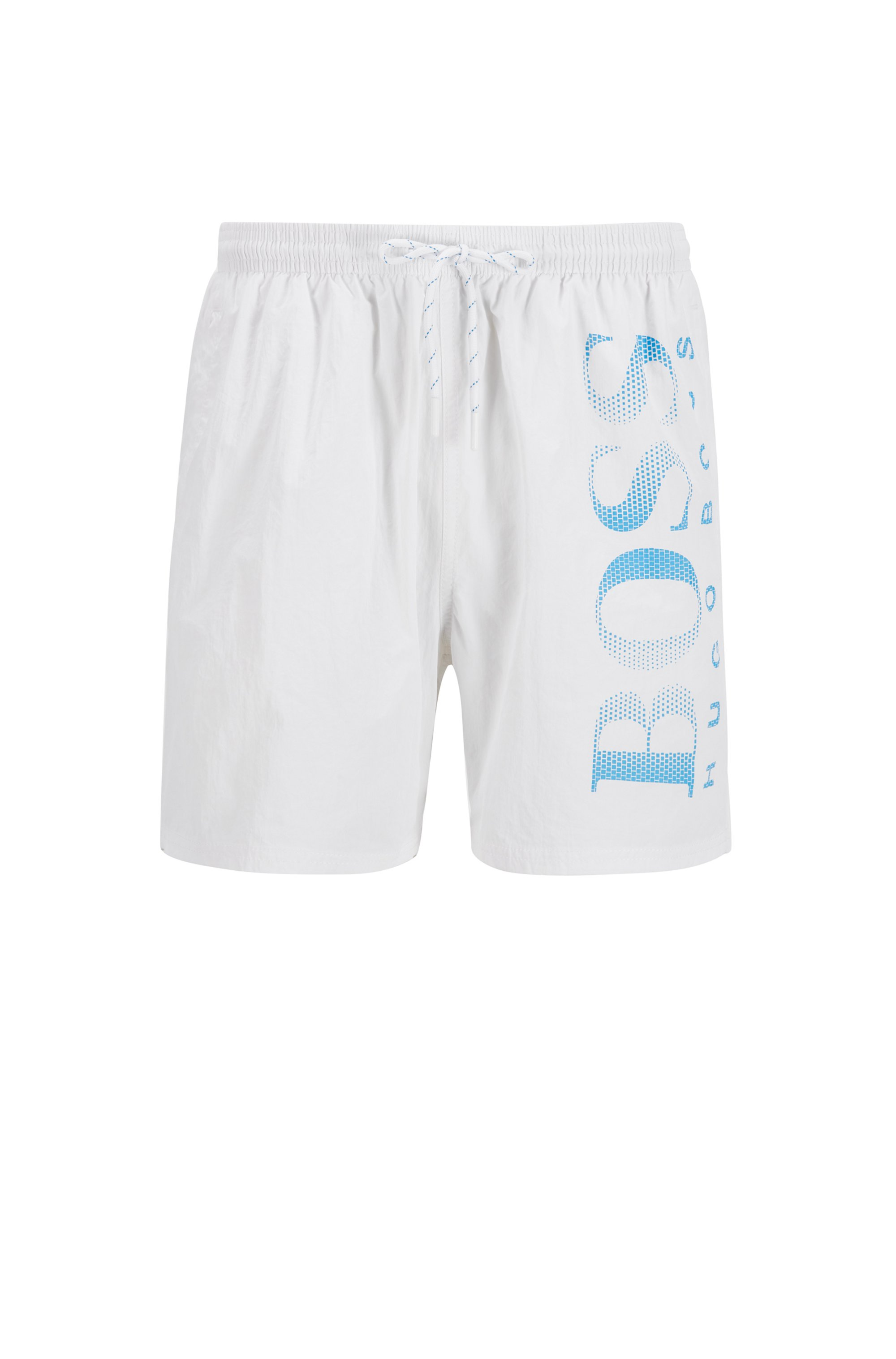 Logo-print swim shorts in technical fabric, White