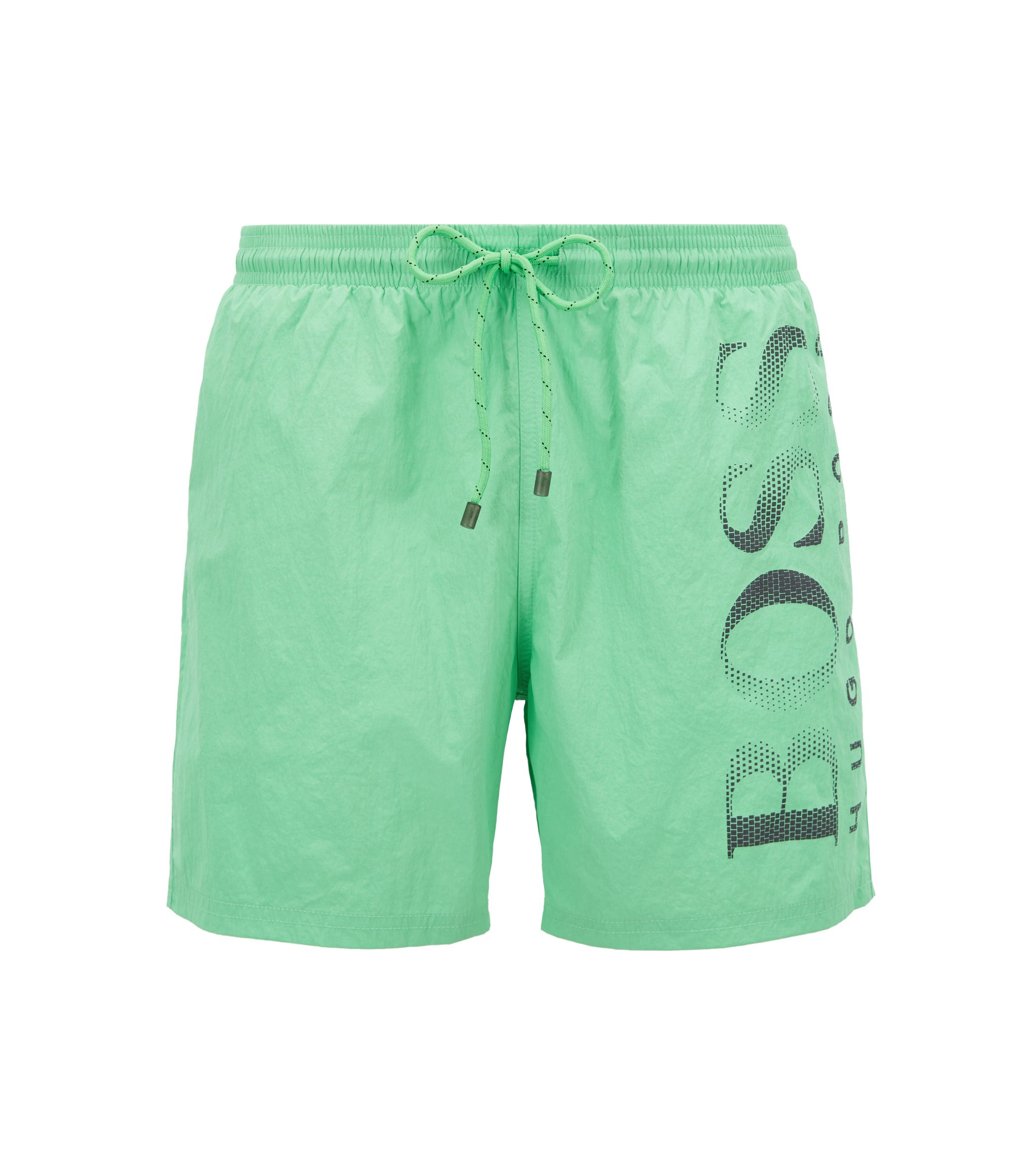 Logo-print swim shorts in technical fabric, Light Green