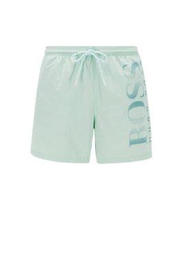 Logo-print swim shorts in technical fabric, Light Green