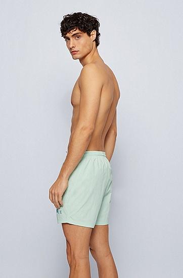 科技面料徽标印花游泳短裤,  337_Light/Pastel Green
