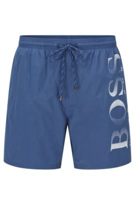 Logo-print swim shorts in technical fabric, Dark Blue