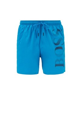 Logo-print swim shorts in technical fabric, Blue