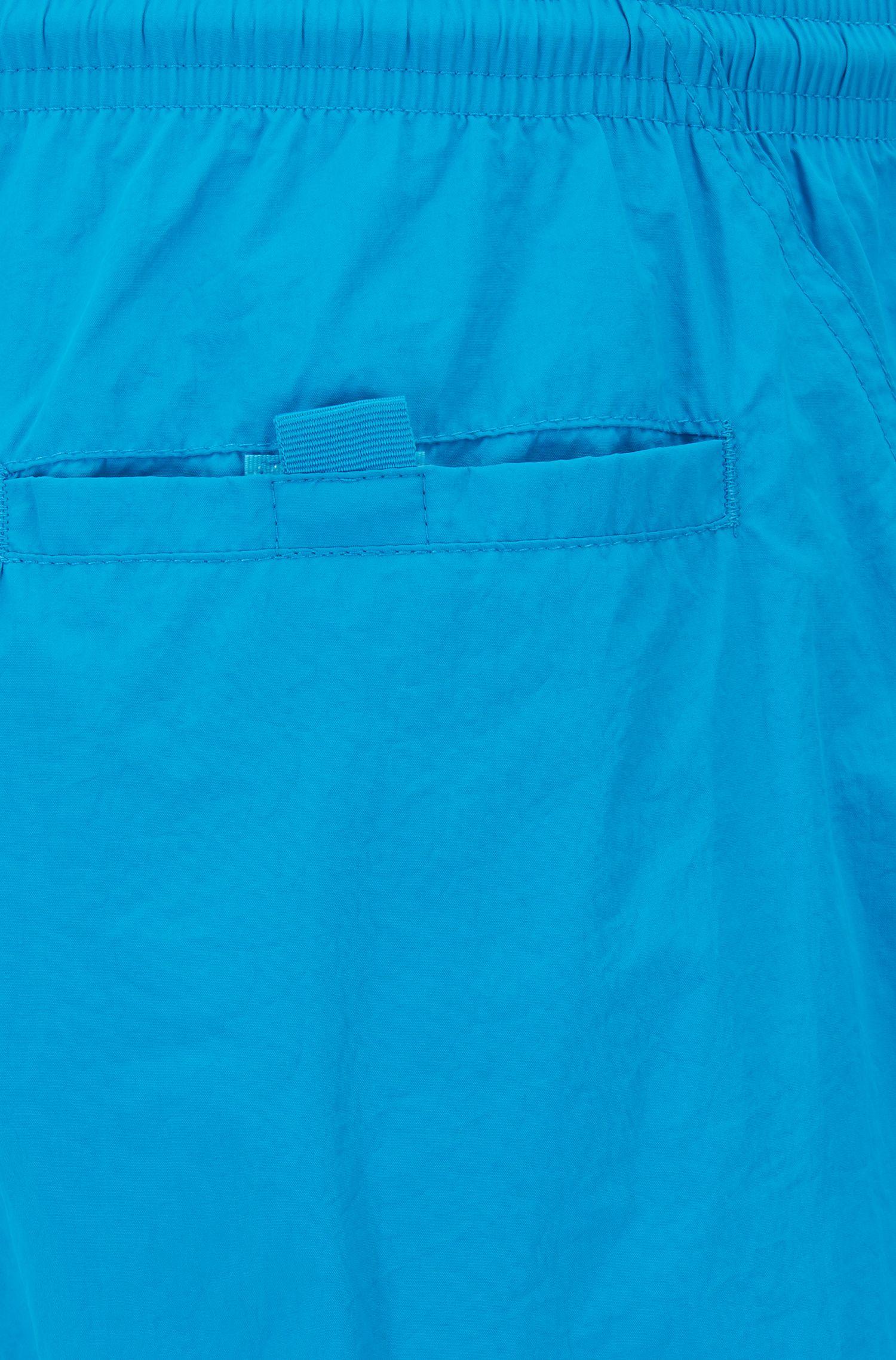 Logo-print swim shorts in technical fabric, Turquoise