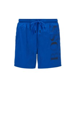 Logo-print swim shorts in technical fabric, Light Blue