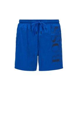 Logo-print swim shorts in technical fabric, Light Blue