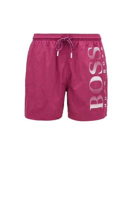 Logo-print swim shorts in technical fabric, Dark Purple