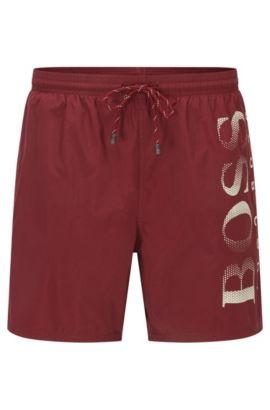 Bañador short con logo estampado en tejido técnico, Rojo oscuro