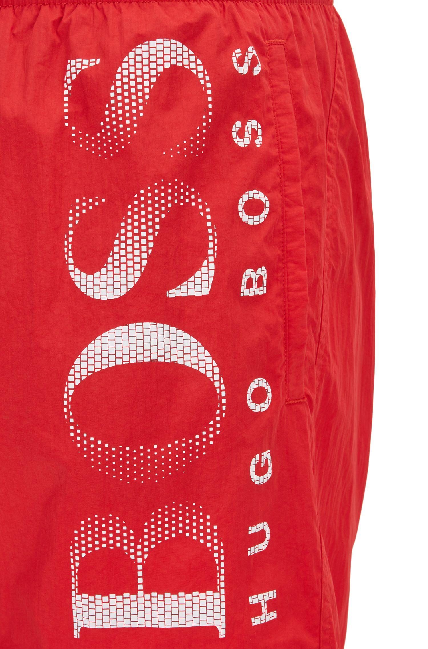 Boxer da bagno con logo stampato in tessuto tecnico