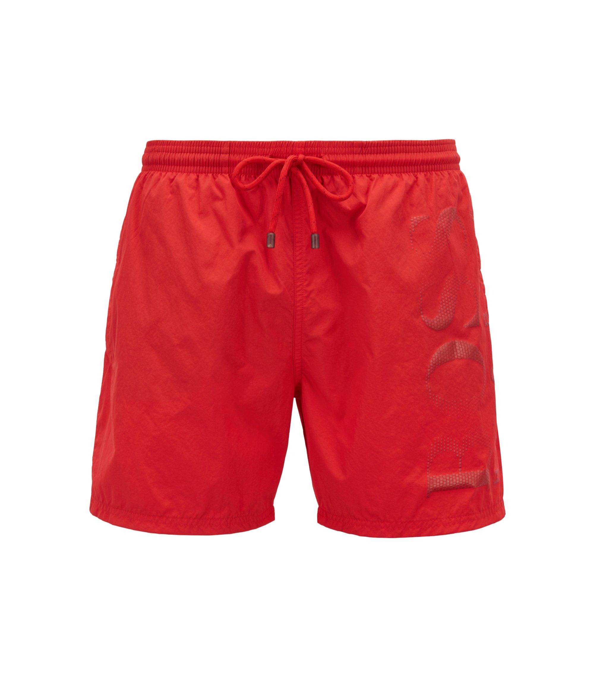 Short de bain en tissu technique à logo imprimé, Rouge