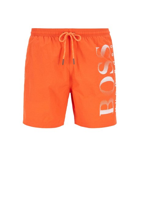 Short de bain en tissu technique à logo imprimé, Orange