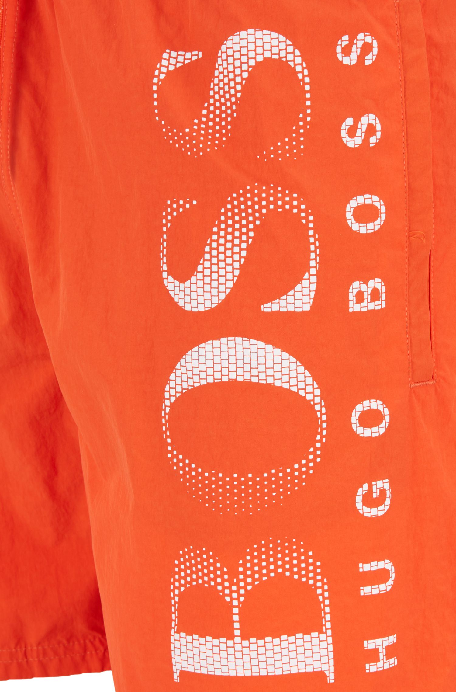 Logo-print swim shorts in technical fabric, Red