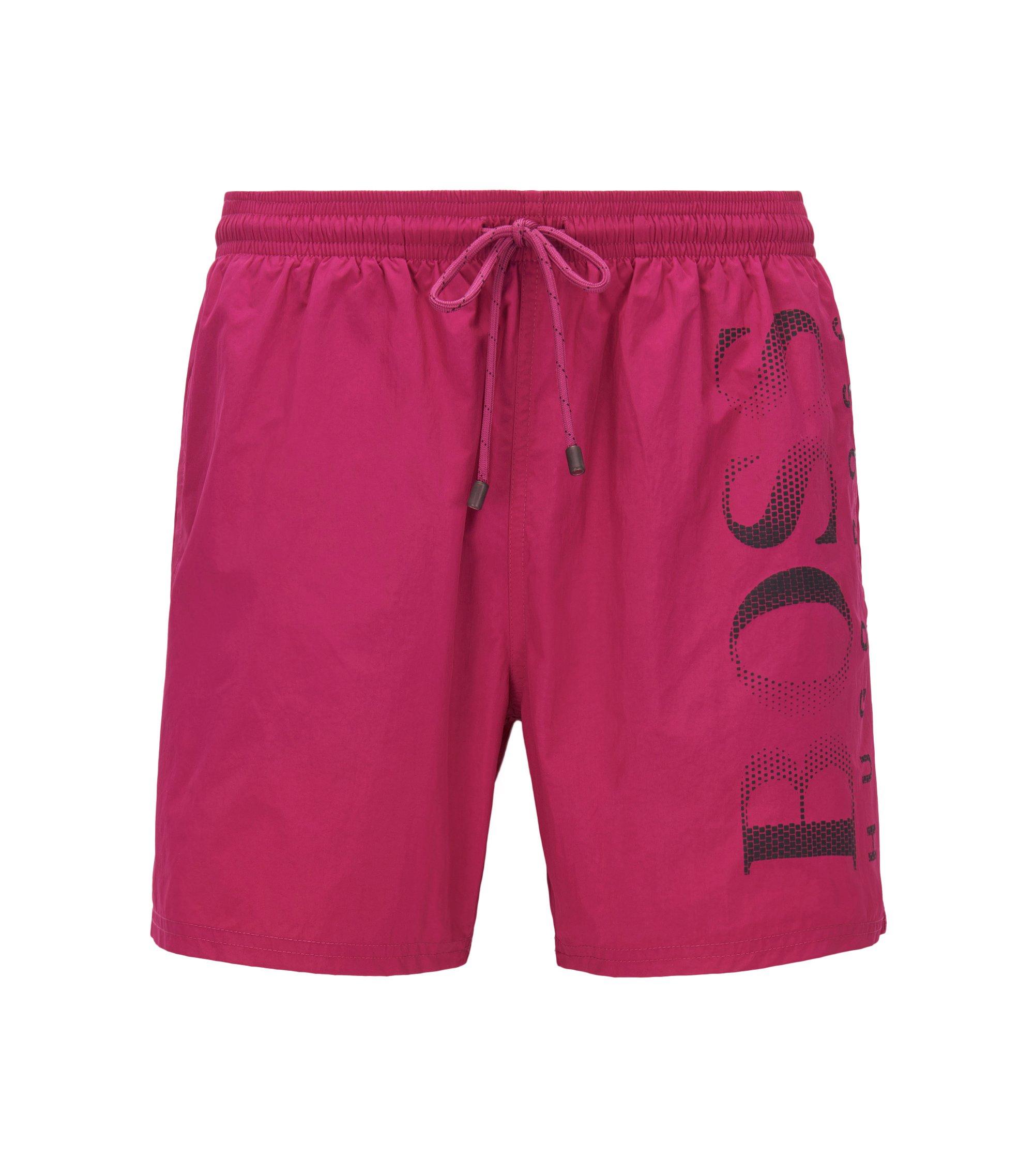 Logo-print swim shorts in technical fabric, Pink