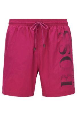 Badeshorts aus Funktionsgewebe mit Logo-Print, Pink