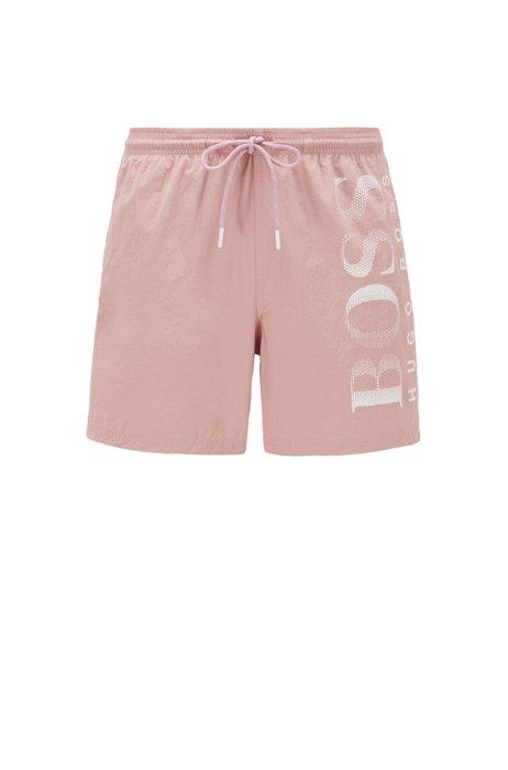 Logo-print swim shorts in technical fabric, light pink
