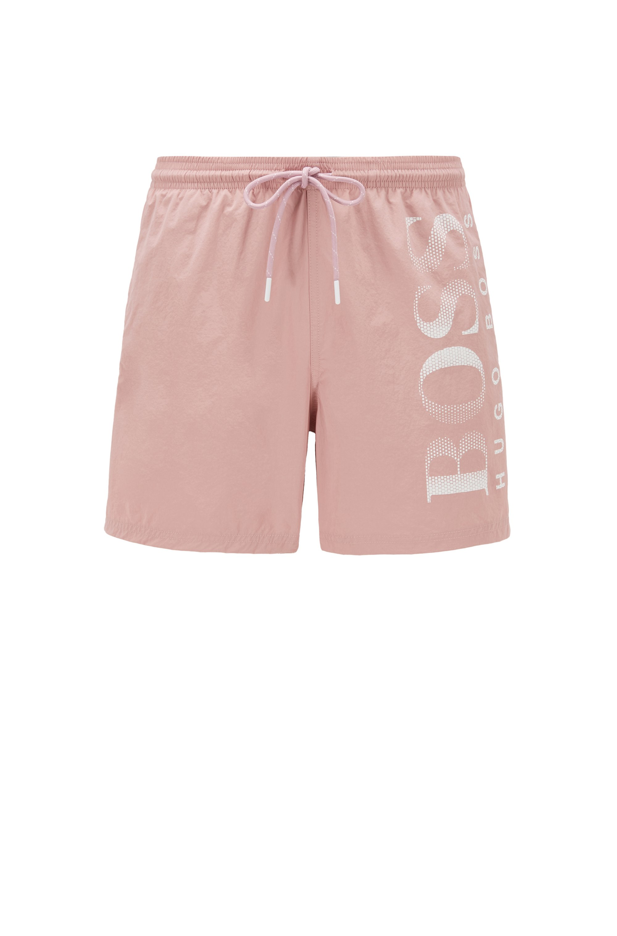 Logo-print swim shorts in technical fabric, light pink