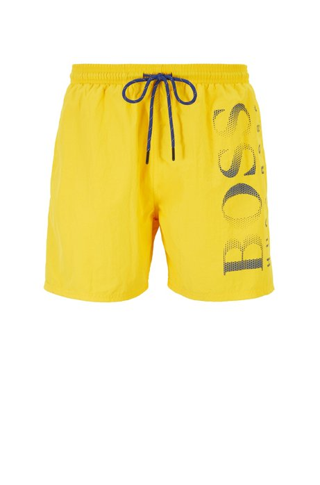 Logo-print swim shorts in technical fabric, Yellow