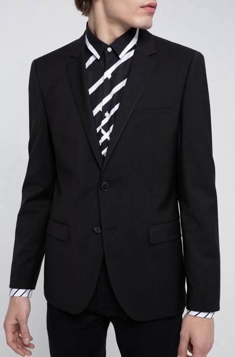 Extra-slim-fit jacket in virgin-wool stretch poplin, Black
