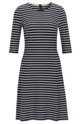 Structured stripe A-line dress in cotton jersey, Dark Blue
