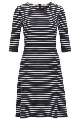 A-lijn jurk, van katoenjersey met gestructureerd streepdessin, Donkerblauw