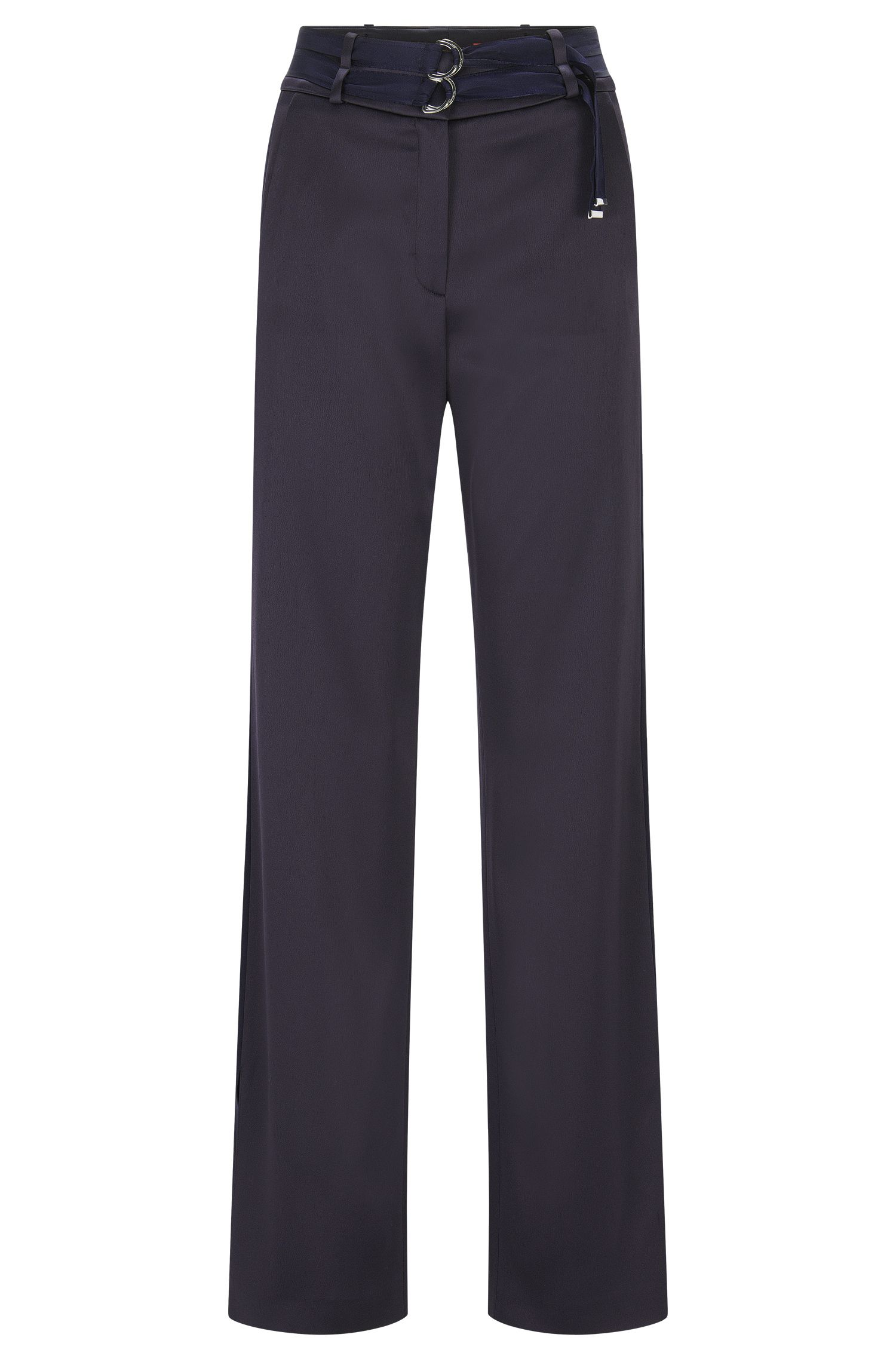 Relaxed-fit trousers with double belt detail
