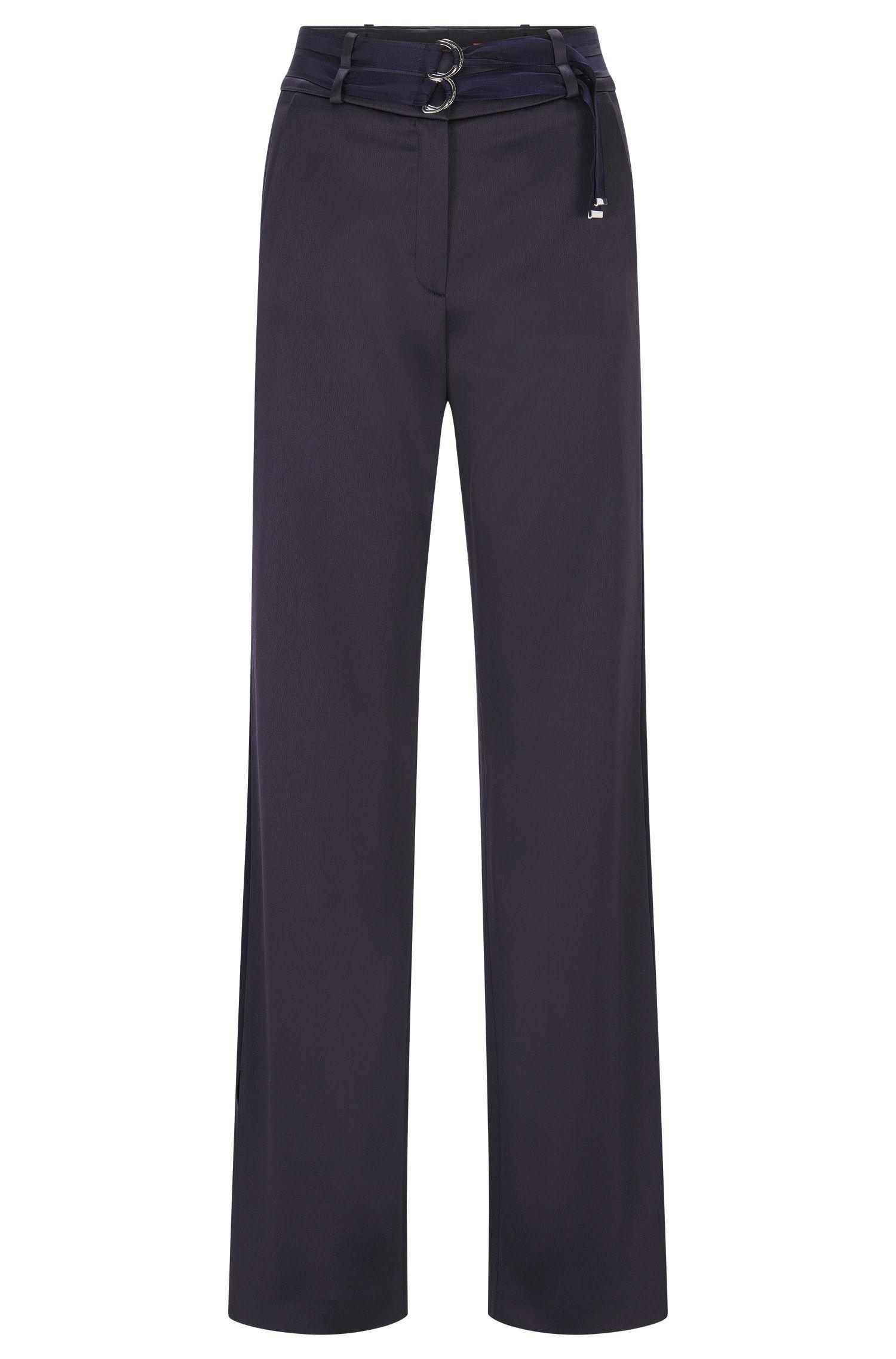 Relaxed-Fit Hose aus Krepp mit Doppelgürtel