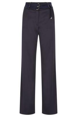 Pantalón relaxed fit con detalle de cinturón doble, Azul oscuro
