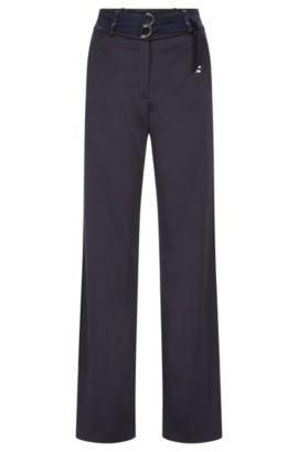 Relaxed-fit trousers with double belt detail, Dark Blue