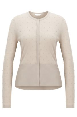 Slim-fit cardigan in structured merino wool, Beige