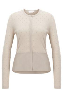 Slim-fit vestje van gestructureerde merinowol, Beige