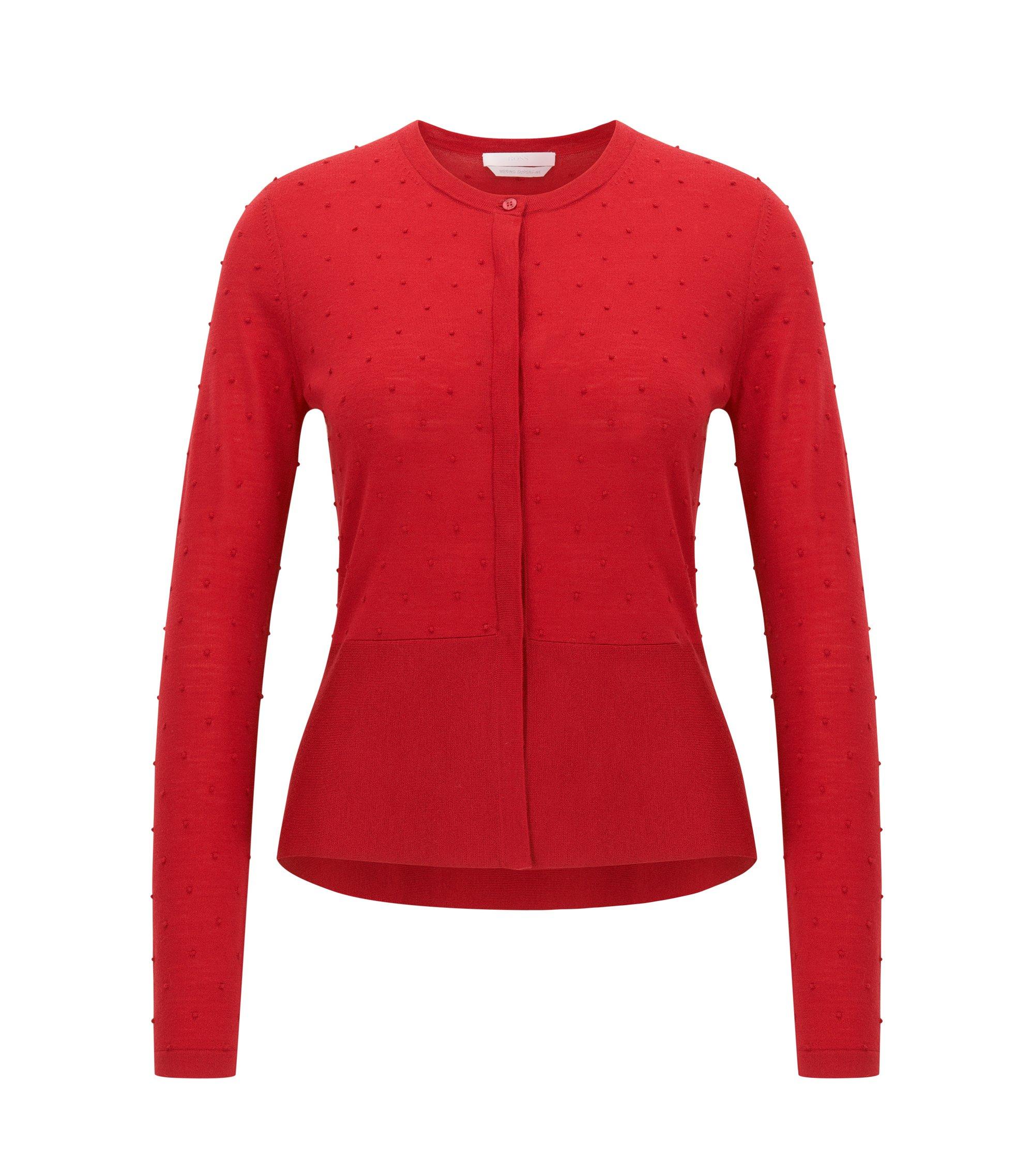 Slim-fit vestje van gestructureerde merinowol, Rood