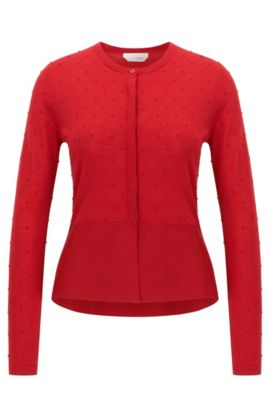 Slim-fit cardigan in structured merino wool, Red