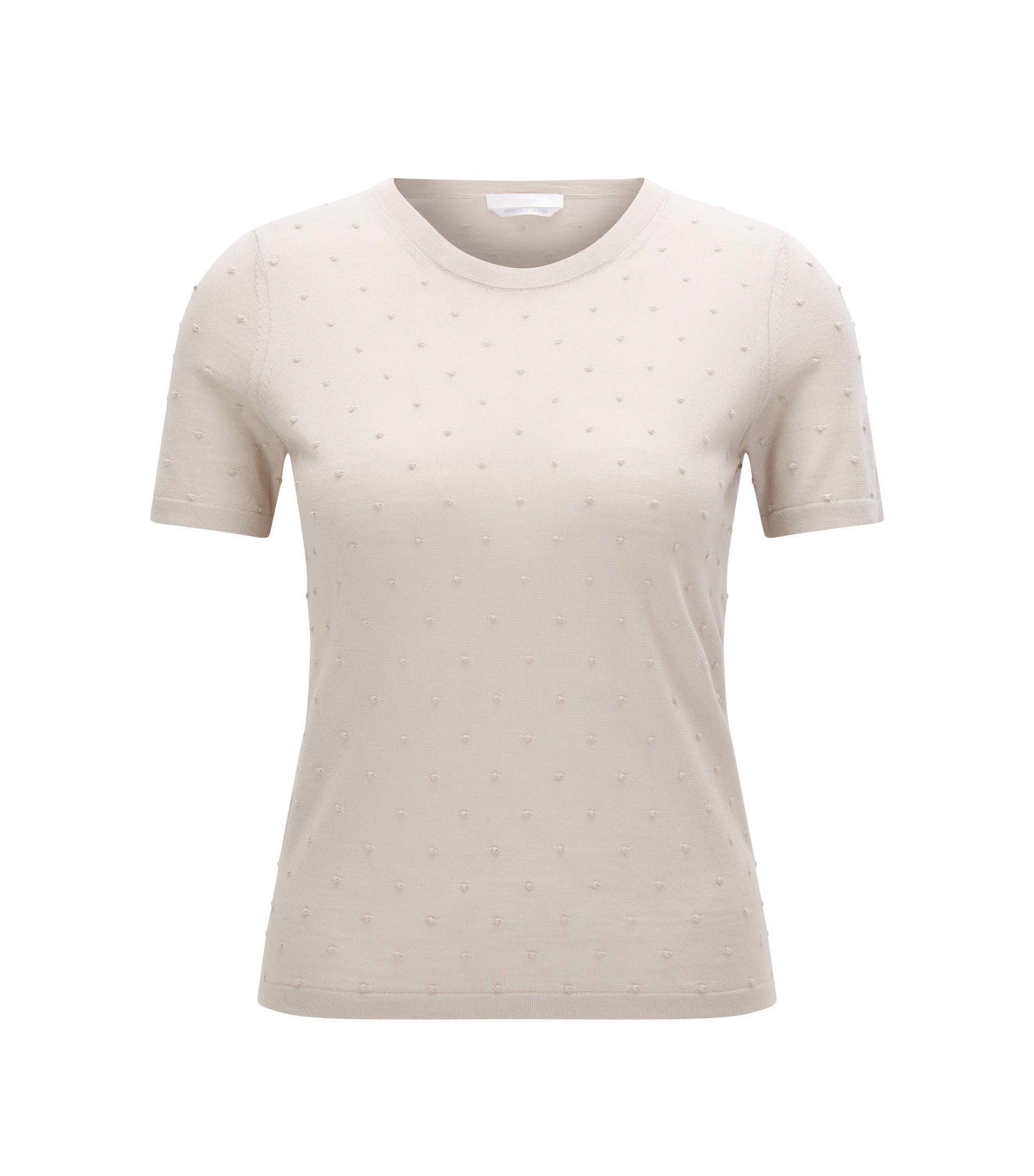 Slim-fit trui van gemerceriseerde merinowol, Beige