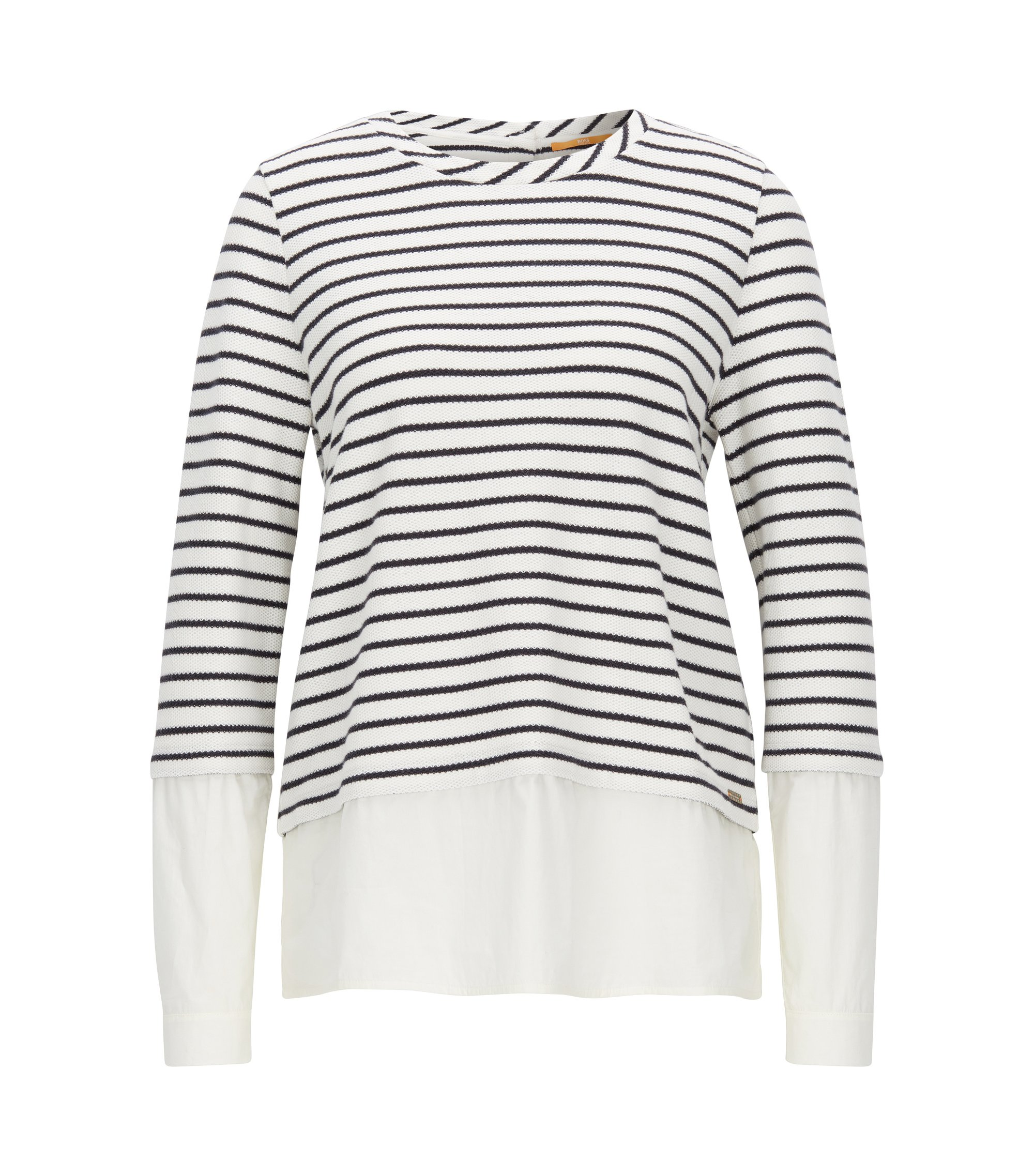 Striped sweater with poplin shirt layer, Natural