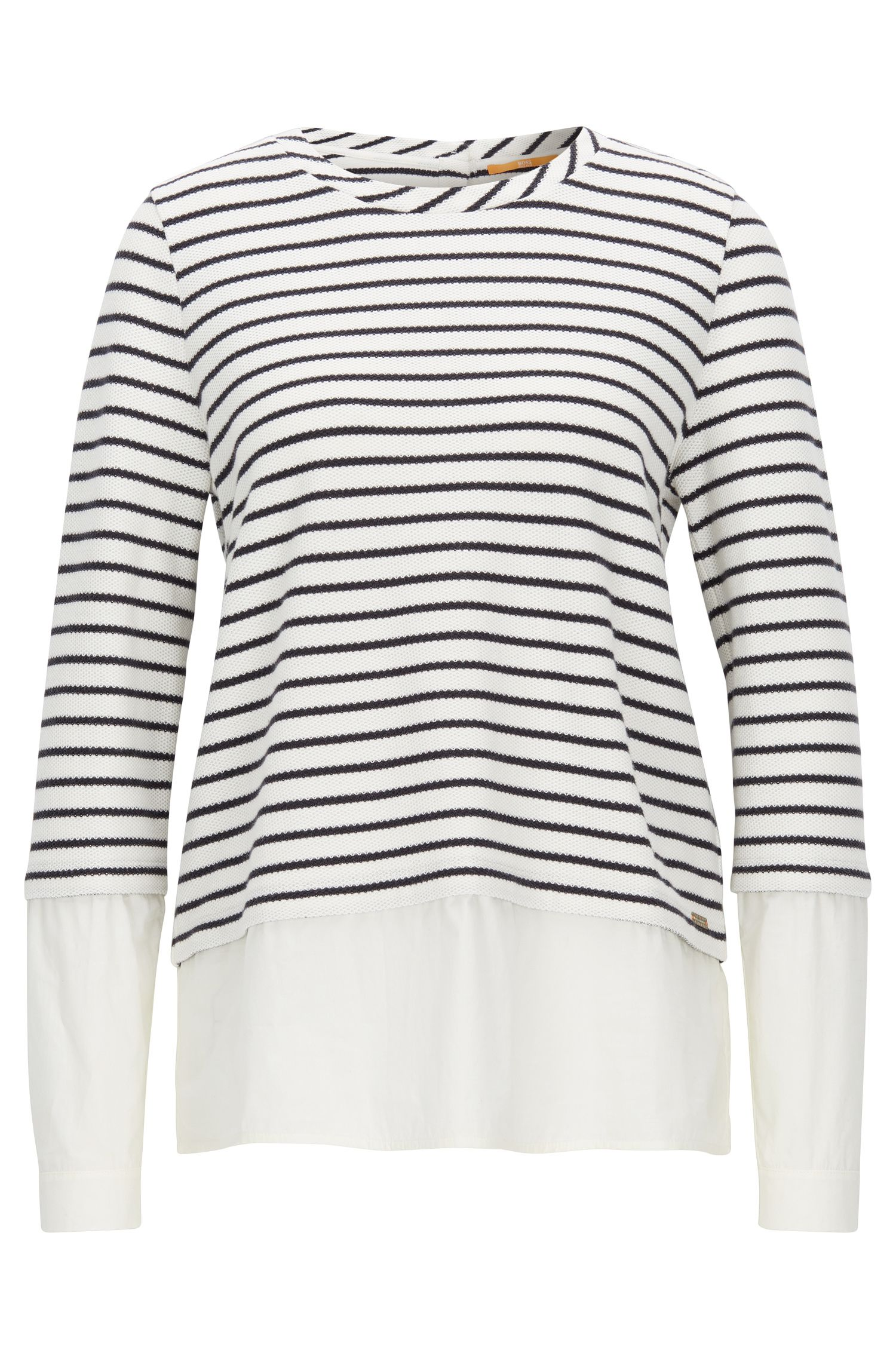 Striped sweater with poplin shirt layer