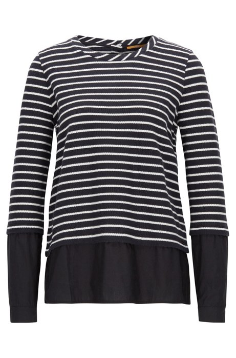Striped sweater with poplin shirt layer, Patterned