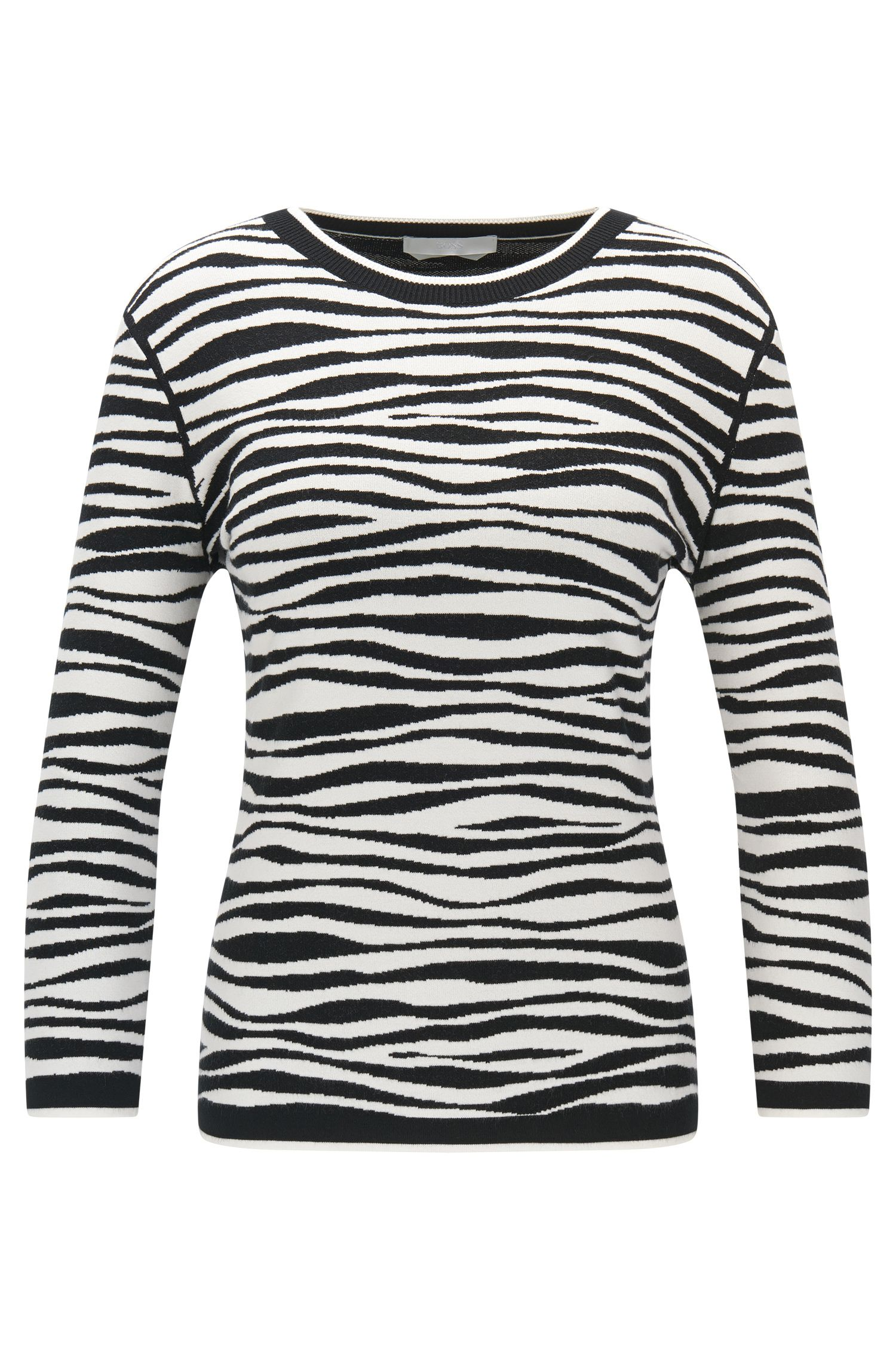 Zebra-stripe sweater in soft jacquard