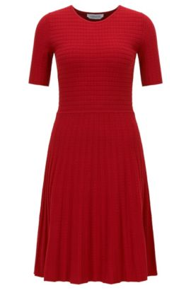 A-line dress in Italian stretch fabric, Red