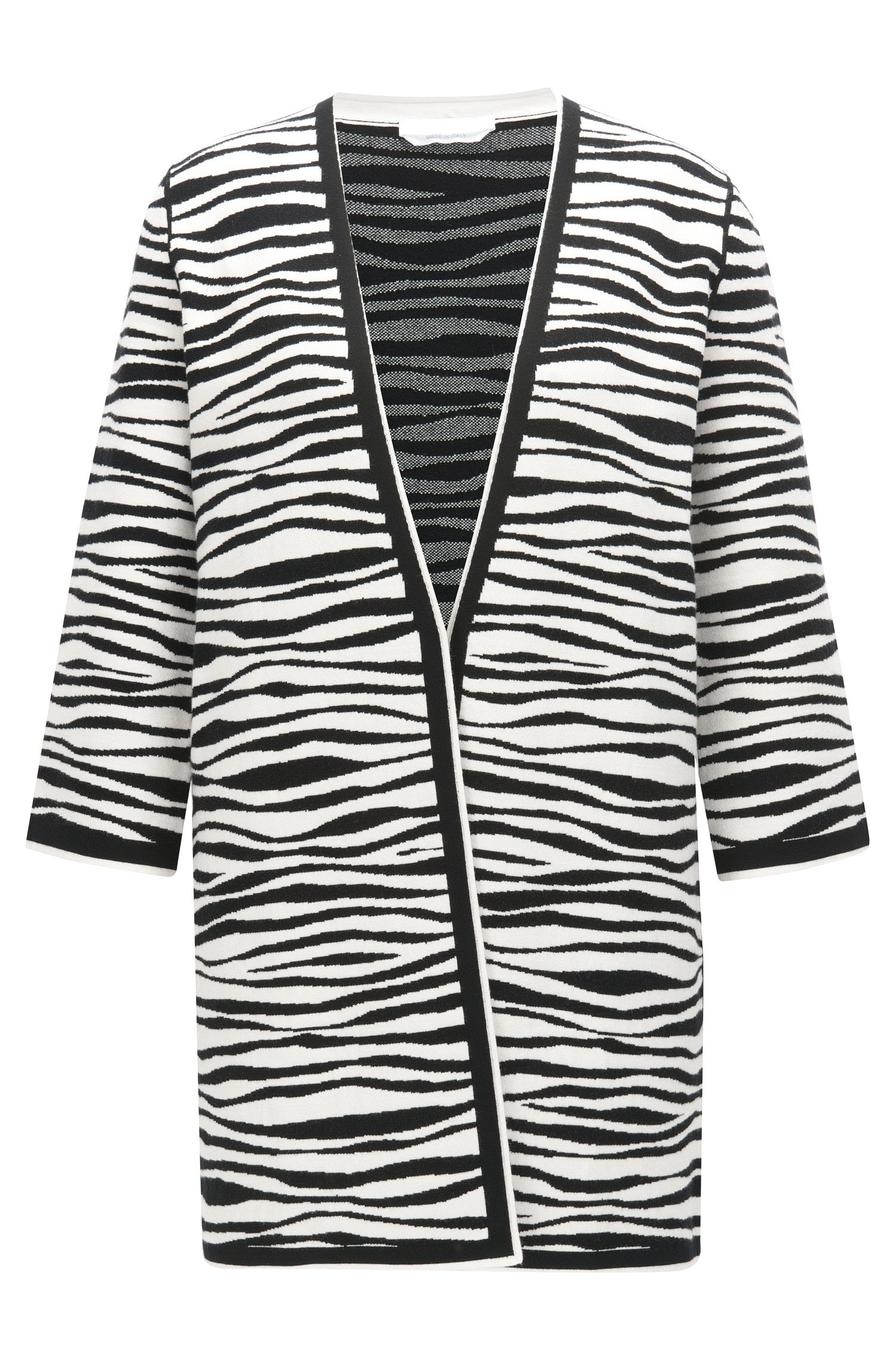 Regular-fit coat in zebra print