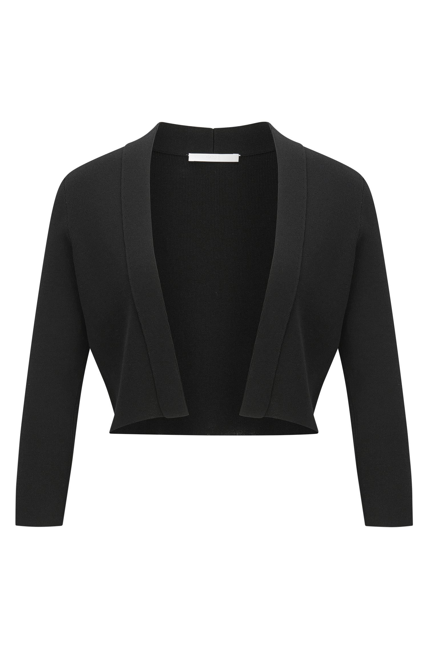 Cotton-blend jacket with cropped sleeves