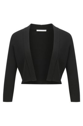 Cotton-blend jacket with cropped sleeves, Black