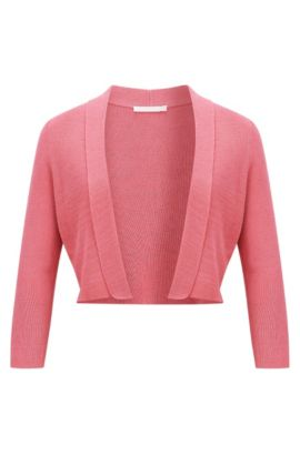 Cotton-blend jacket with cropped sleeves, Light Red