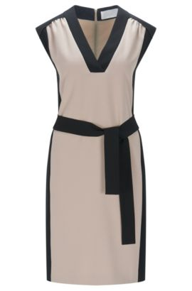 Regular-fit dress in technical crêpe, Beige