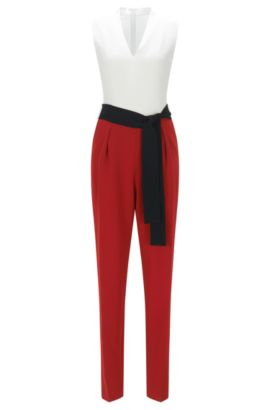 Regular-fit jumpsuit with belted waist, Red