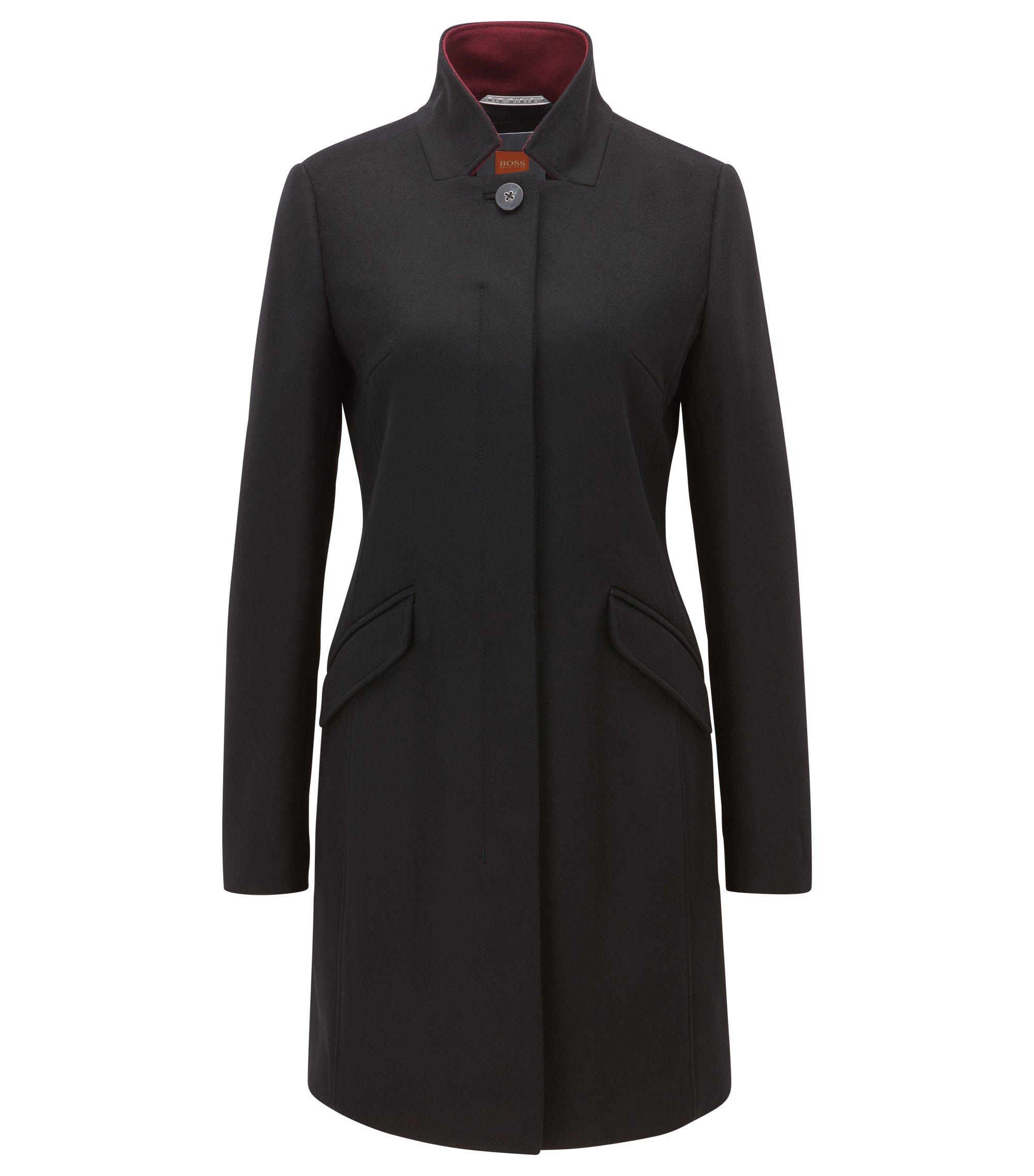 Abrigo con botones ocultos en mezcla de lana de peso medio , Negro