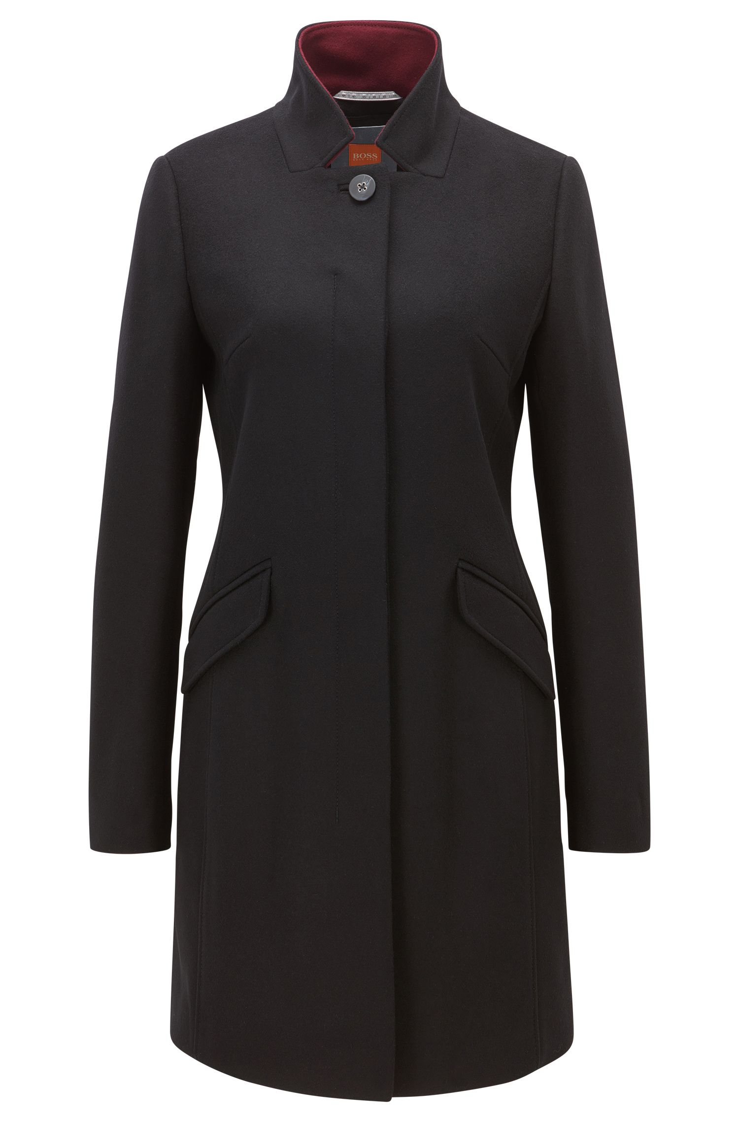 Mid-weight concealed-button-up coat in a wool blend