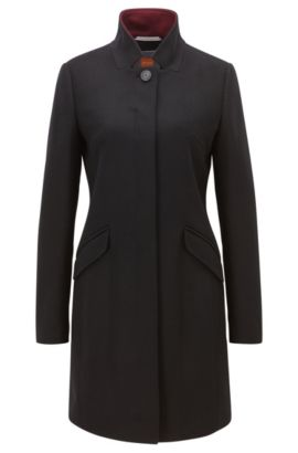 Mid-weight concealed-button-up coat in a wool blend , Black
