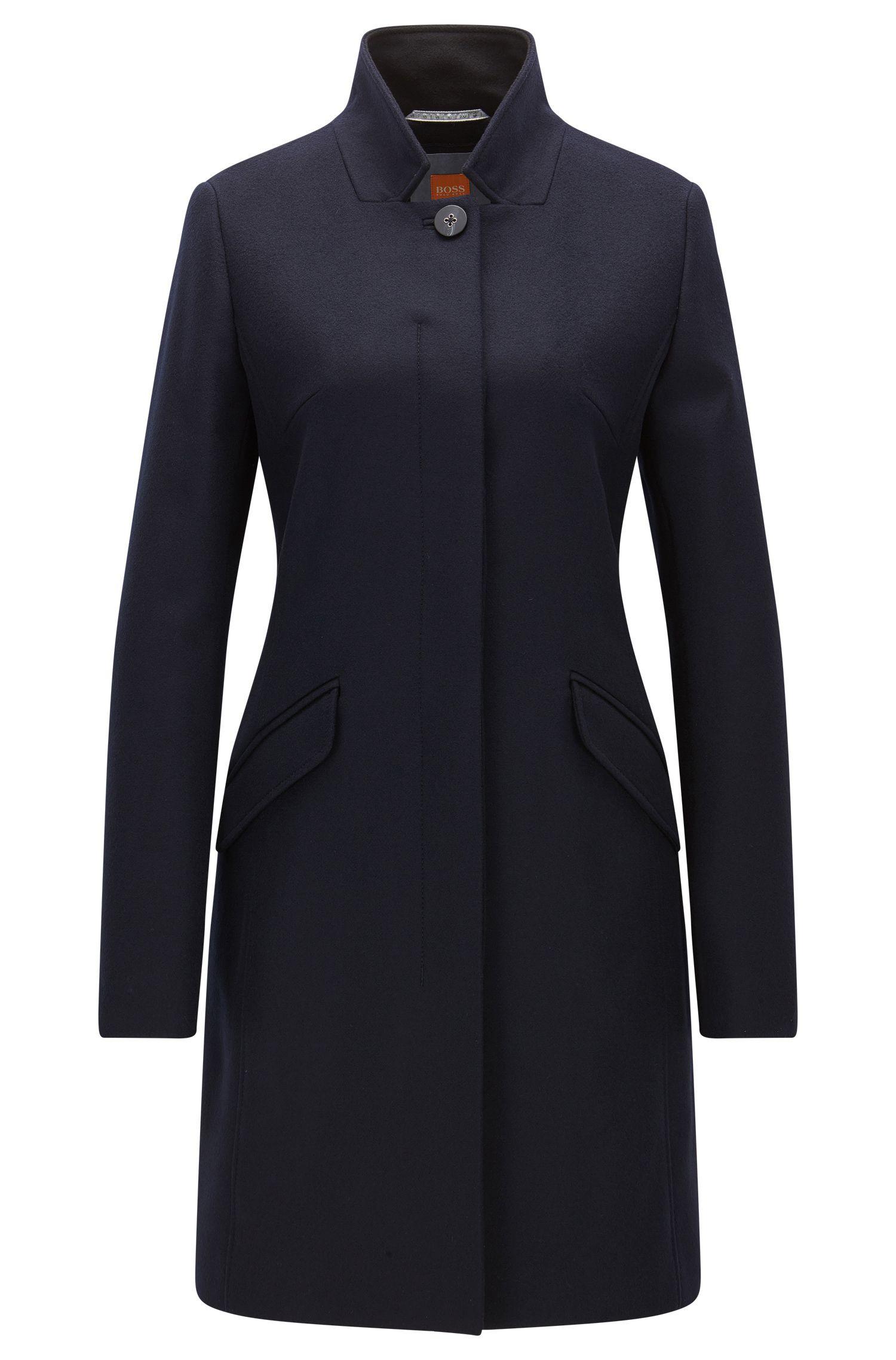 Mantel aus mittelschwerem Woll-Mix mit verdeckter Knopfleiste