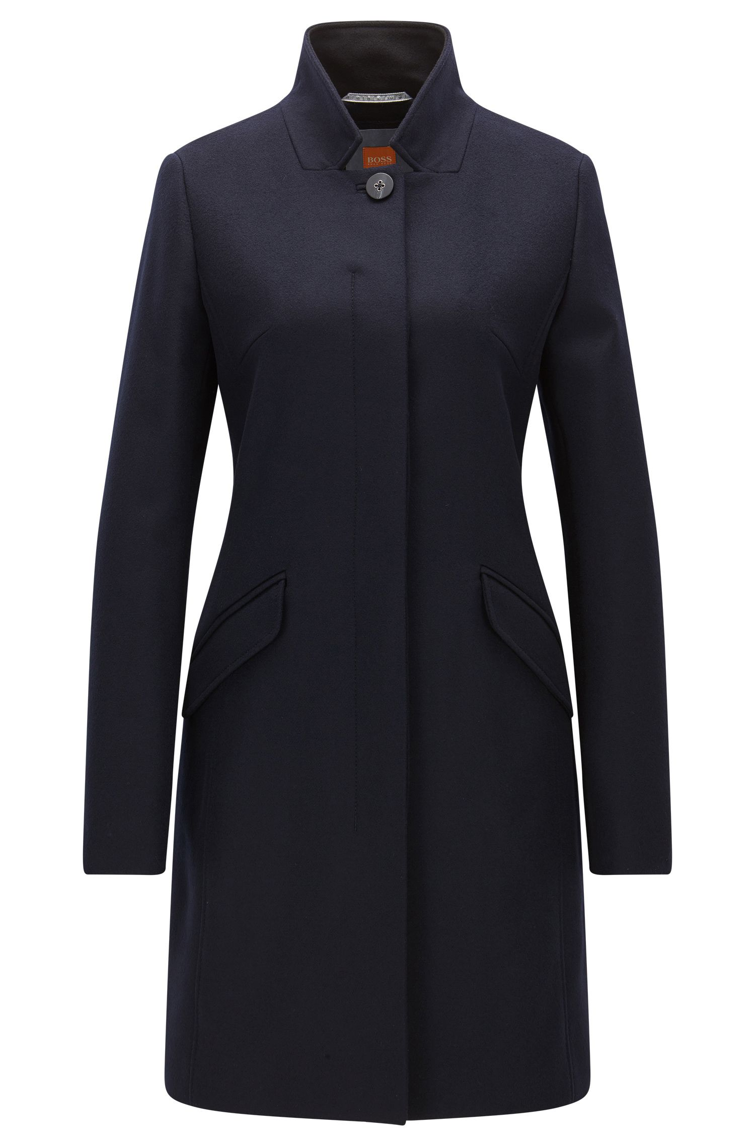 Cappotto in misto lana di pesantezza media con chiusura nascosta