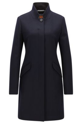 Mid-weight concealed-button-up coat in a wool blend , Dark Blue