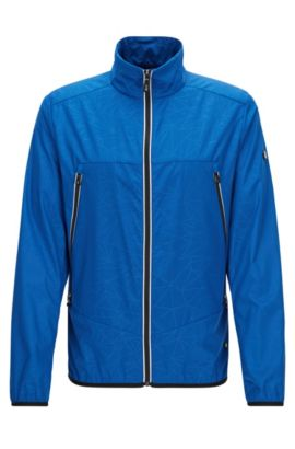 Giacca regular fit in popeline impermeabile, Blu